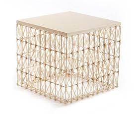 美国 Phillips Collection  金色铝制皮面边桌