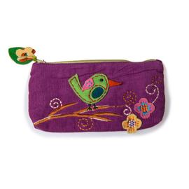 美国 Two's Company  紫色羊毛混纺手工编织 小鸟贴花拉链笔袋