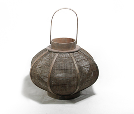 美国 Roost  做旧木质黄麻灯笼(小号)