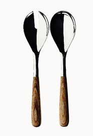 芬兰 Iittala  Piano系列镍色不锈钢木柄意大利餐勺