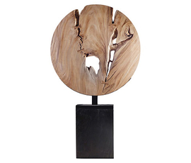 美国 Phillips Collection  Wooden Moon Sculpture系列棕色恰姆恰木 残缺美感雕塑摆件