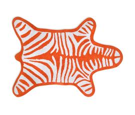 美国 Jonathan Adler  Zebra系列橘色美洲鸵长羊毛斑马纹地毯(中号)