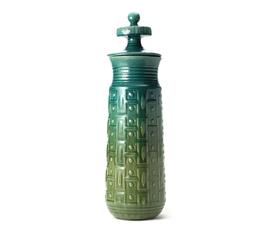 美国 Global Views  蓝绿渐变色陶瓷几何带盖花瓶