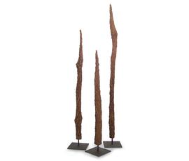 美国 Palecek  Fossil系列原木色金属三件套化石树