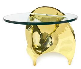 美国 Jonathan Adler  Peacock系列金色黄铜玻璃鸡尾酒桌