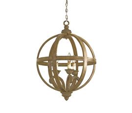 美国 Currey & Company  Axel系列栗色芒果木球状复古枝形吊灯(小号)