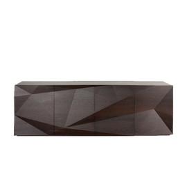 意大利 Emmemobili  Transform系列黑色鸡翅木钻石纹切面装饰柜