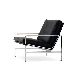 丹麦 Lange Production  Fk 6720-1系列黑色皮革极简扶手沙发椅