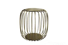 美国 Arteriors  Genisis系列金属色铸铁镀铜亮面蒲式中式传统坐凳 装饰边桌