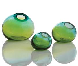 美国 Global Views   蓝绿色 玻璃 球形花瓶
