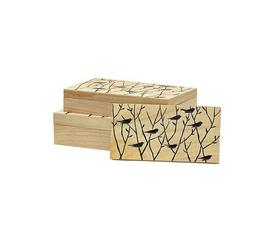 美国 Palecek  原色木黑色丛林鸟收纳盒三件套
