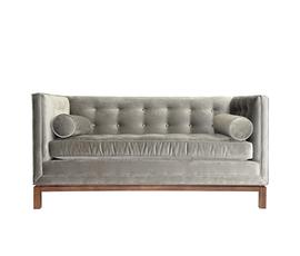 美国 Jonathan Adler  Brussels Lampert系列灰色胡桃木丝绒舒适双人沙发