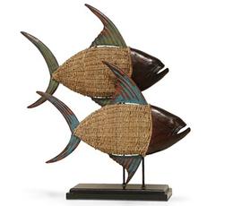 美国 Palecek  花色相思木双鱼装饰摆件