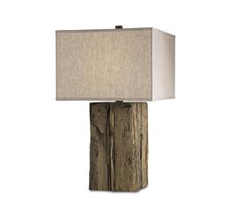 美国 Currey & Company  原木色浮木亚麻灯罩台灯