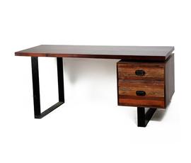 美国 Four Hands  Charles系列棕色实木做旧书桌