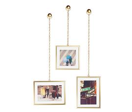 加拿大 Umbra  Fotochain系列磨砂金墙面垂链相片架