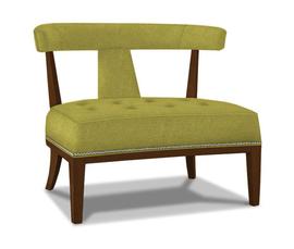 美国 Jonathan Adler  Addison系列绿色胡桃木框架 天鹅绒面料宽背美式休闲椅