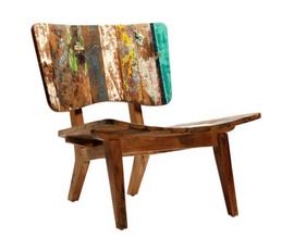 美国 Dovetail  原木色做旧油墨画风休闲椅