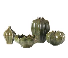 美国 Global Views  橄榄绿陶瓷杨桃花瓶