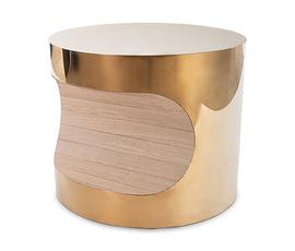 美国 Phillips Collection  金色抛光铜亮面轻奢咬口装饰桌