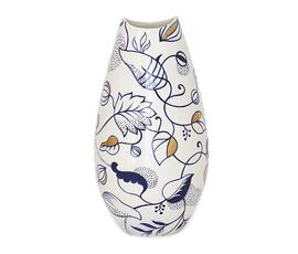美国 Global Views  蓝色陶瓷 叶子花纹花瓶