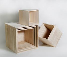 美国 Roost  原木色泡桐木正方展示盒五件套