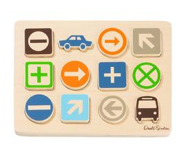 美国 Dwell Studio   原色木质交通符合儿童拼图