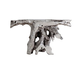 美国 Phillips Collection  Brivo系列银色树脂根雕装饰边桌