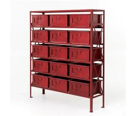 美国 Four Hands  Rockwell系列深红色钢制15屉装饰柜