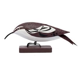 美国 Gold Leaf  Wood Bird系列棕色 白色木质啄木鸟小鸟摆件