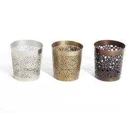 美国 Shiraleah  银 黑 金铝质镂空烛托三件套